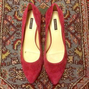 "ALEX MARIE Red suede pump 2"" heel rubber soles 7.5"